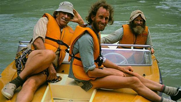 Sir Edmund Hilary and friends aboard Hamilton Jet boat on Ganges River