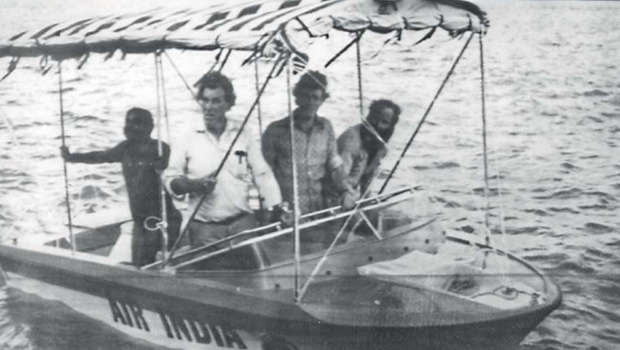 Sir Graeme Dingle, Sir Edmund Hillary and friends in Hamilton Jet Boat on the Ganges River