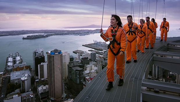 Walking on top of sky tower Auckland