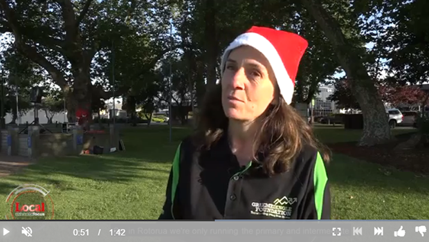 Graeme Dingle Foundation Rotorua Regional Manager Megan Kusabs in santa hat