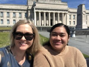 Malia and her mentor outside Auckland Museum