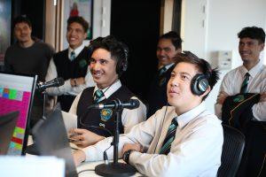 Career Navigator in a radio booth