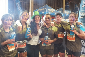 Mila and friends after mud run