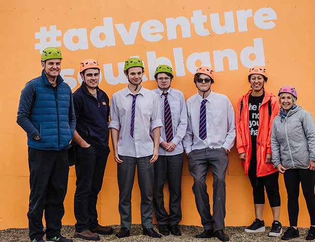Group of students and mentors outside Adventure Southland